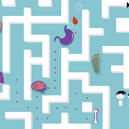 A maze game to deliver oxygen to the parts of the body.